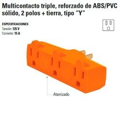 """Multicontacto Triple Reforzado de ABS/PVC Solido 2 Polos + Tierra Tipo """"Y"""""""
