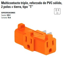 """Multicontacto Triple Reforzado de PVC Solido 2 Polos + Tierra Tipo """"T"""""""
