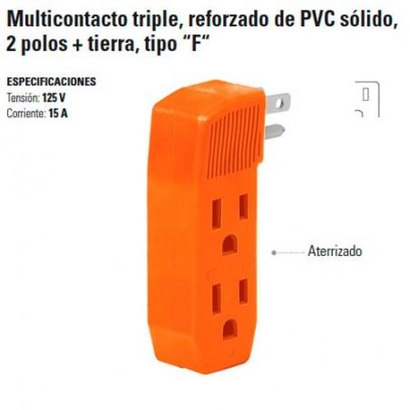"""Multicontacto Triple Reforzado de PVC Solido 2 Polos + Tierra Tipo """"F"""""""