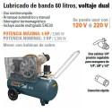 Compresor de Aire Voltaje Dual de 60 Litros TRUPER