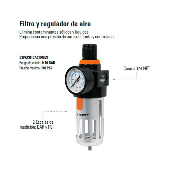 Filtro y Regulador de Aire TRUPER