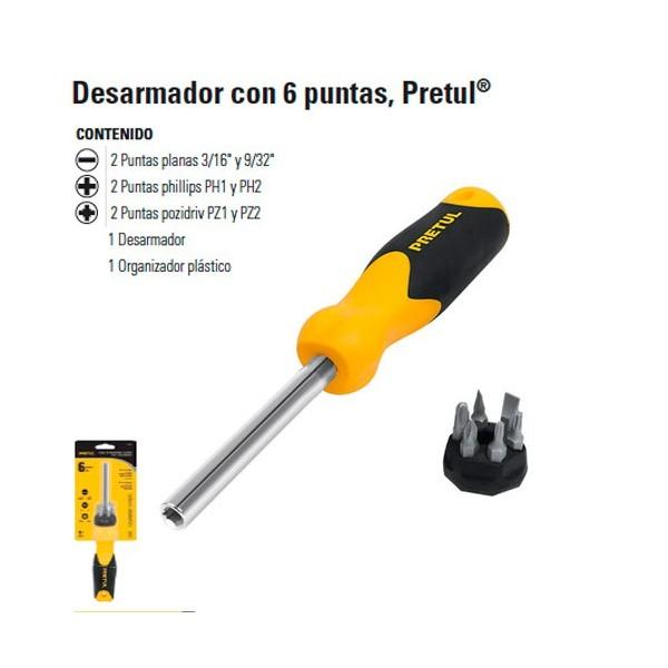 Desarmador 6 Puntas PRETUL