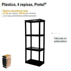 Estante Plastico 4 Repisas PRETUL