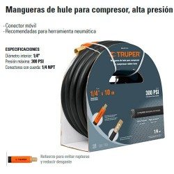 "Manguera de Hule 1/4"" Compresor Alta Presion TRUPER"