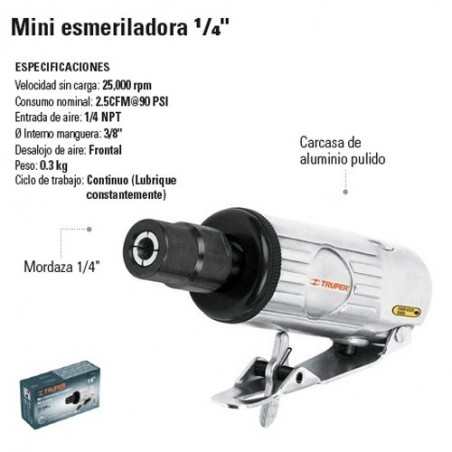 "Mini Esmeriladora 1/4"" Neumatica TRUPER"