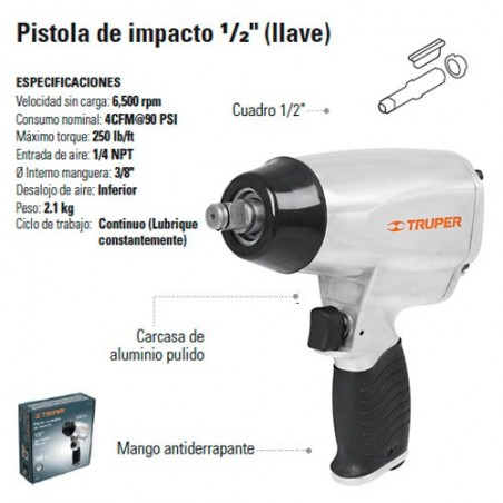 "Pistola de Impacto 1/2"" Neumatica TRUPER"