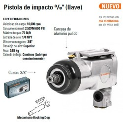 Pistola de Impacto 3/8 Neumatica TRUPER