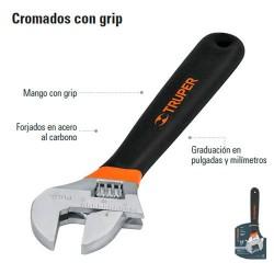 Llave Ajustable (Pericas) Cromada con Grip TRUPER