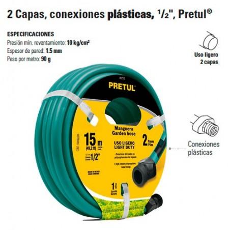 Manguera 2 Capas Conexion Plastica 1/2