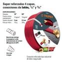 Manguera Super Reforzada 4 Capas Conexion Laton 1/2 TRUPER