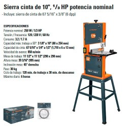 "Sierra Cinta de 10 "" 1/3 HP TRUPER"