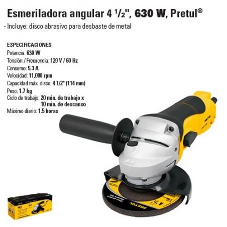 "Esmeriladora Angular 4 1/2"" Casera 630W PRETUL"