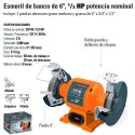"Esmeril de Banco 6"" 1/2 HP TRUPER"