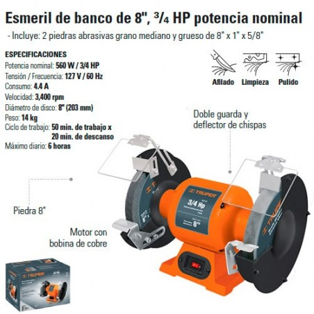 "Esmeril de Banco 8"" 3/4 HP TRUPER"