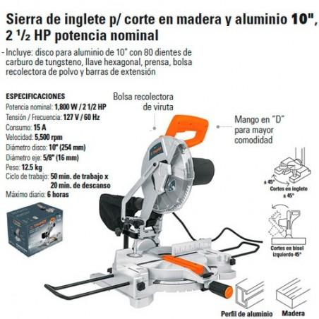 "Sierra de Inglete Corte Aluminio 10"" 2 1/2 HP TRUPER"