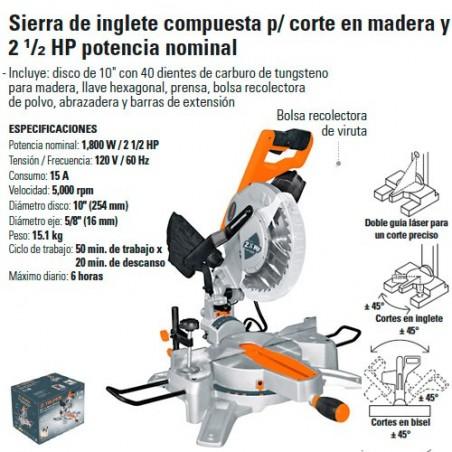 "Sierra de Inglete Compuesta Corte de Madera 10"" 2 1/2 HP TRUPER"