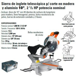 "Sierra de Inglete Telescopica Corte Madera 10"" 2 1/2HP TRUPER"