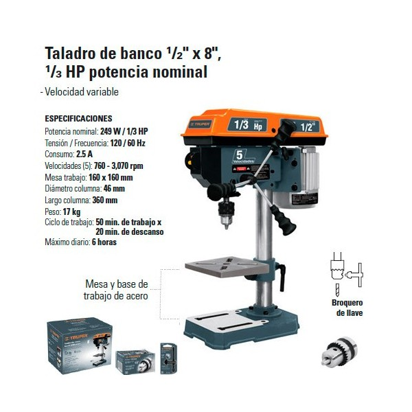 "Taladro de Banco 1/2"" x 8"" 1/3 HP"