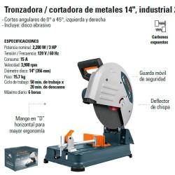 """Tronzadora Cortadora Metal 14"""" Industrial 2200W TRUPER"""
