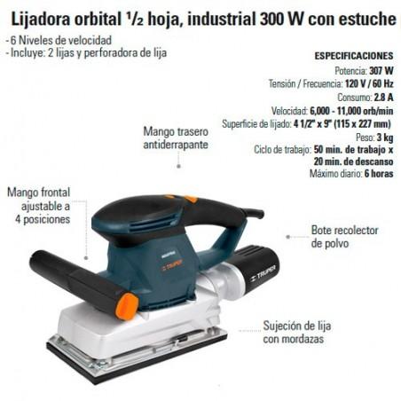 Lijadora Orbital 1/2 Hoja Industrial 300W TRUPER