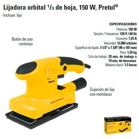 Lijadora Orbital 1/3 Hoja 150W PRETUL