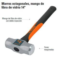 """Marro Octagonal 14"""" Mango Fibra de Vidrio TRUPER"""