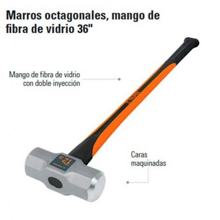 """Marro Octagonal 36""""  Mango Fibra de Vidrio TRUPER"""