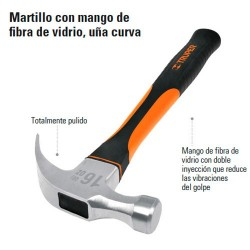 Martillo con Mango de Fibra de Vidrio Uña Curva TRUPER