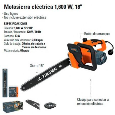 """Motosierra Electrica 1600 18"""" TRUPER"""