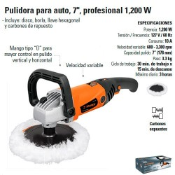 "Pulidora 7"" Profesional 1200W TRUPER"
