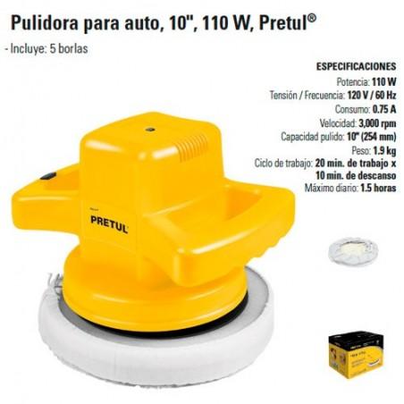 """Pulidora 10"""" 110 W PRETUL"""