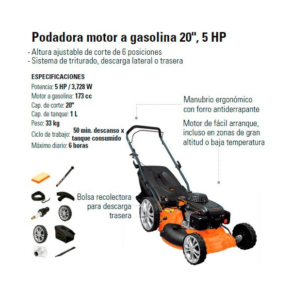 "Podadora Motor a Gasolina 20"" 5 HP TRUPER"