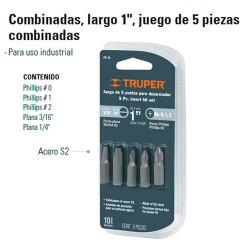 """Juego de 5 Puntas Para Dezarmador Combinadas 1"""" TRUPER"""""""