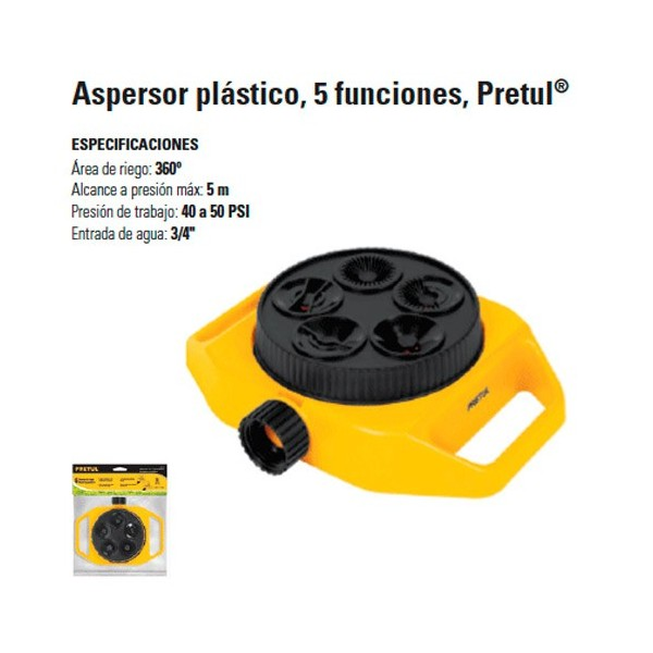 Aspersor Plastico 5 Funciones PRETUL