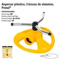 Aspersor Plastico 3 Brazos de Aluminio PRETUL