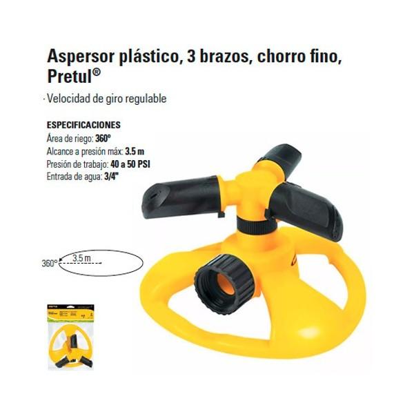 Aspersor Plastico 3 Brazos Chorro Fino PRETUL