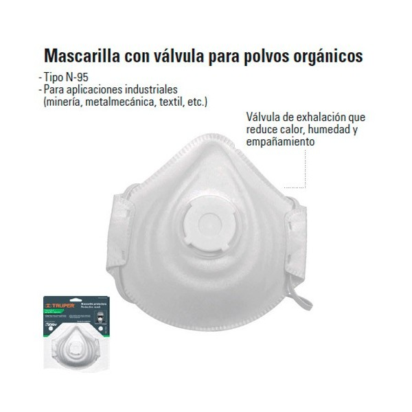 Mascarilla Con Valvula Para Polvos Organicos TRUPER