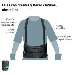 Faja Con Tirantes y Tercer Cinturon Ajustables TRUPER