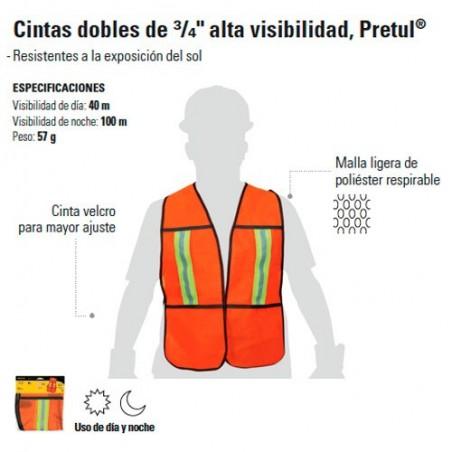 """Chaleco Cintas Dobles de 3/4 Alta Visibilidad Naranja PRETUL"""""""