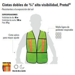 "Chaleco Cintas Dobles de 3/4 Alta Visibilidad PRETUL"""