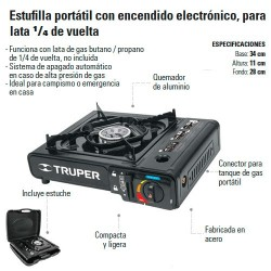 Estufilla Portátil Encendido Electrónico TRUPER