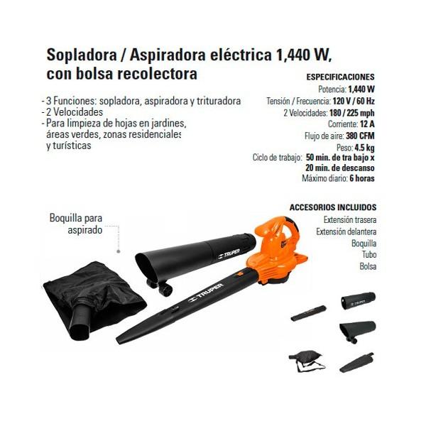 Sopladora / Aspiradora Eléctrica 1440 W TRUPER