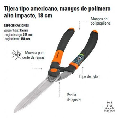 "Tijera Podadora Tipo Americano Mangos de Polimero 18 1/2"" TRUPER"