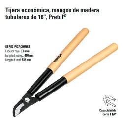 "Tijera Para Ramas Economica Mangos de Madera 16"" PRETUL"