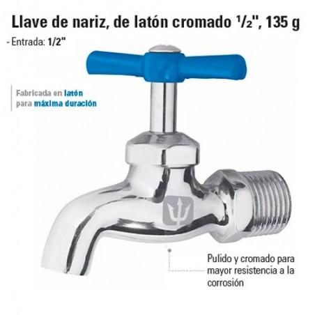 """Llave de Nariz de Laton Cromado 1/2"""" 135 g FOSET"""