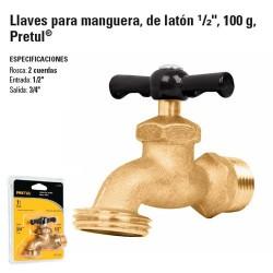 "Llave para Manguera, de Laton 1/2"" 100 g PRETUL"