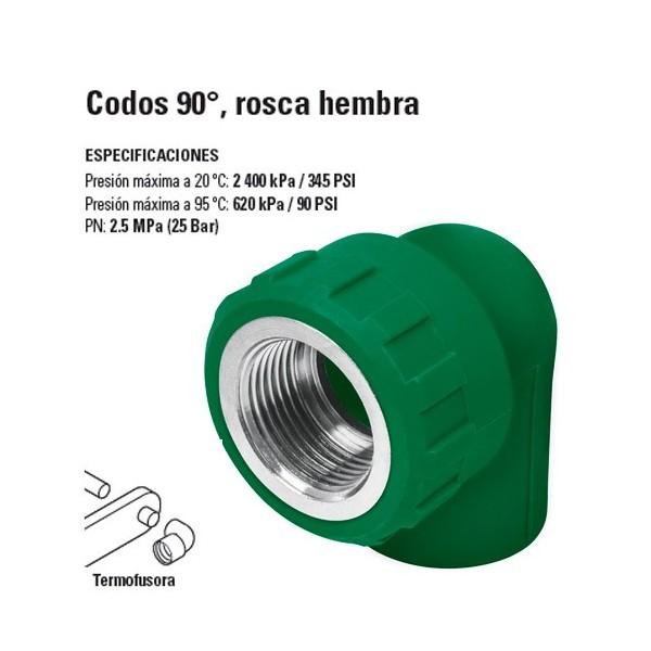 Codo de PP-R 90º Rosca Hembra TERMOFLOW