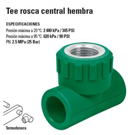 Tee de PP-R Rosca Central Hembra TERMOFLOW