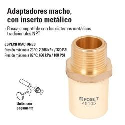 Adaptador de CPVC Macho con Inserto Metalico HIDROFLOW