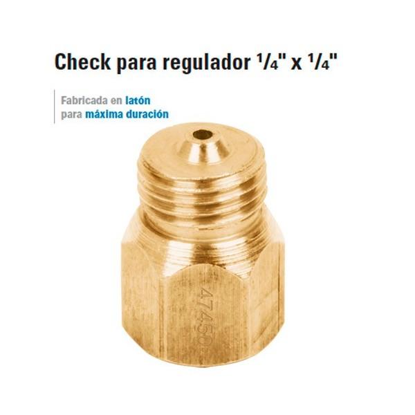 "Check para Regulador 1/4"" x 1/4"" para Gas"